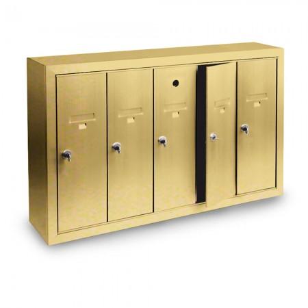 5 Door Surface Mount Vertical Mailbox - Gold