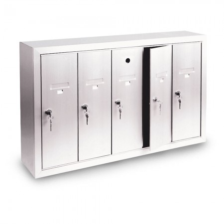 5 Door Surface Mount Vertical Mailbox - Silver