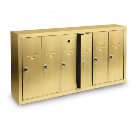 6 Door Surface Mount Vertical Mailbox - Gold