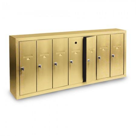 7 Door Surface Mount Vertical Mailbox - Gold