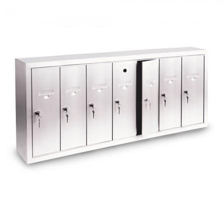 7 Door Surface Mount Vertical Mailbox - Silver