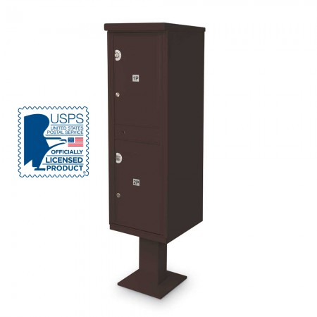 2 Parcel Locker F-spec Cluster Box Unit with Pedestal, Bronze