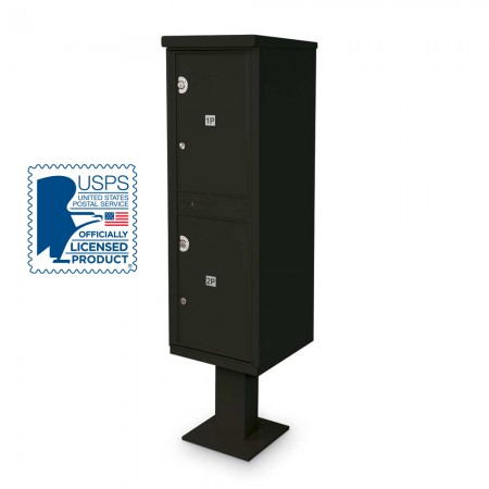 2 Parcel Locker F-spec Cluster Box Unit with Pedestal, Black