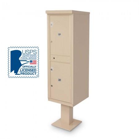 2 Parcel Locker F-spec Cluster Box Unit with Pedestal, Sandstone