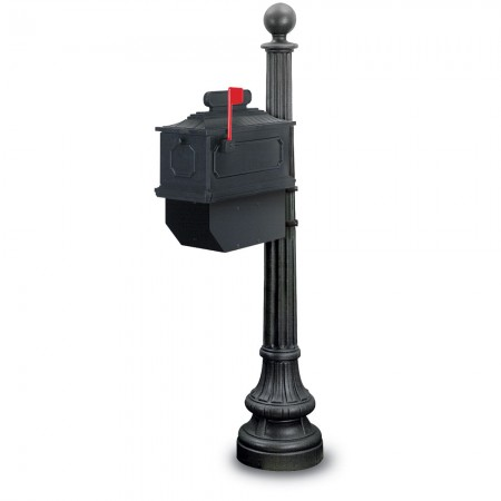 Augusta 1812 Residential Mailbox & Post - Black