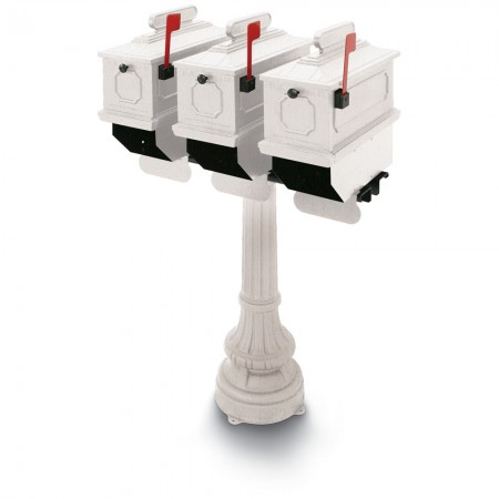 Greensville 1812 Triple Residential Mailboxes & Post - White