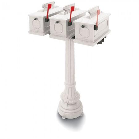 Park Ridge 1812 Triple Residential Mailboxes & Post - White