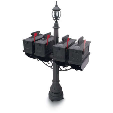 Illuminated Port Hill 1812 Quadruple Residential Mailboxes & Post