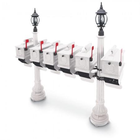 Illuminated Morganton 1812 Six Residential Mailboxes & Post - White