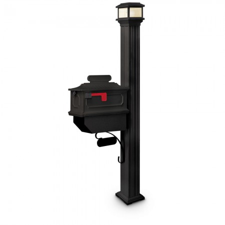 Illuminated Wilkes Estate Series Residential Mailbox & Post - Black