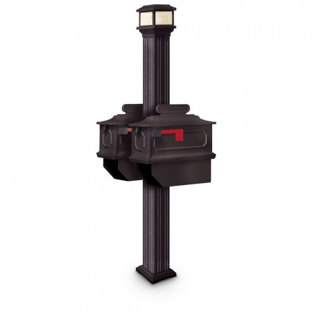Illuminated Abbot Estate Series Double Residential Mailboxes & Post
