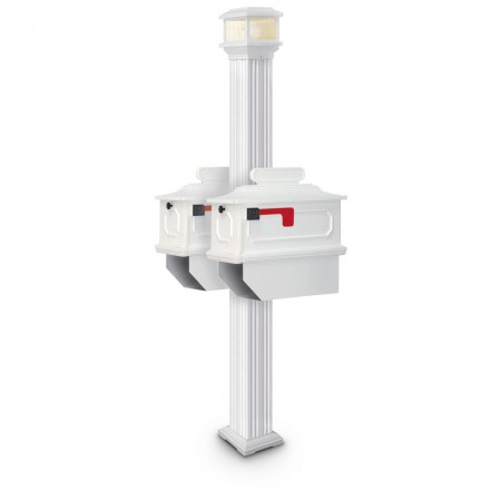 Illuminated Abbot Estate Series Double Residential Mailboxes & Post - White