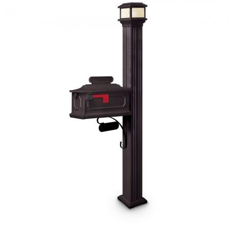 Illuminated Altair Estate Series Residential Mailbox & Post - Black