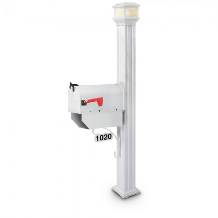 Illuminated Delta Estate Series Residential Mailbox & Post - White