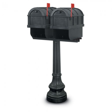 Wales 1092 Double Residential Mailboxes & Post - Black