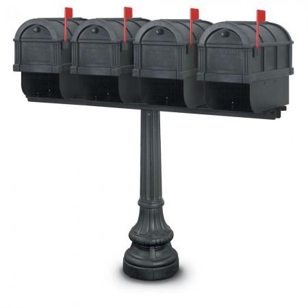 Canterbury 1092 Quadruple Residential Mailboxes & Post - Black