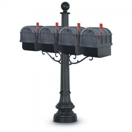 Visby 1092 Quadruple Residential Mailboxes & Post - Black