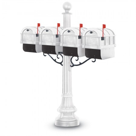 Visby 1092 Quadruple Residential Mailboxes & Post - White