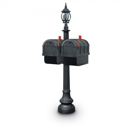 Illuminated Camrose 1092 Double Residential Mailboxes & Post - Black