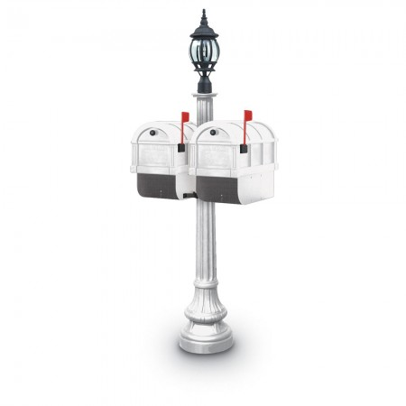 Illuminated Camrose 1092 Double Residential Mailboxes & Post - White