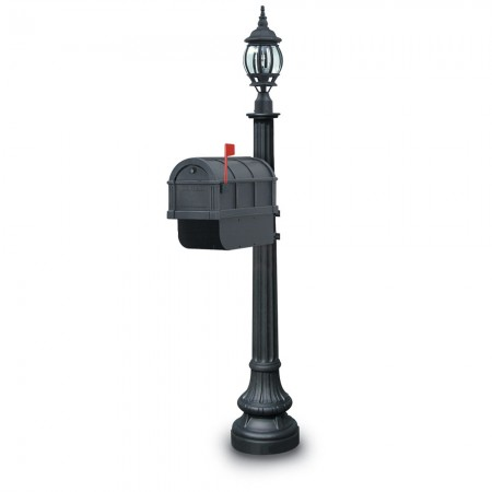Illuminated Nevern 1092 Residential Mailbox & Post - Black