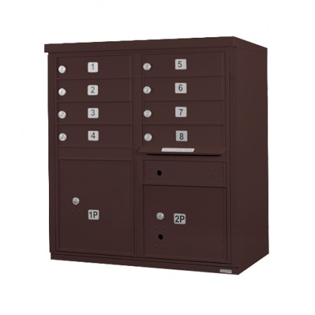 8 Door F-Spec Cluster Box Unit, Bronze - NO PEDESTAL