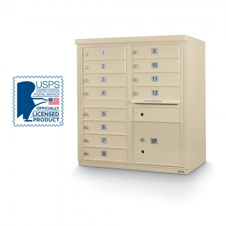 12 Door F-Spec Cluster Box Unit, Sandstone - NO PEDESTAL