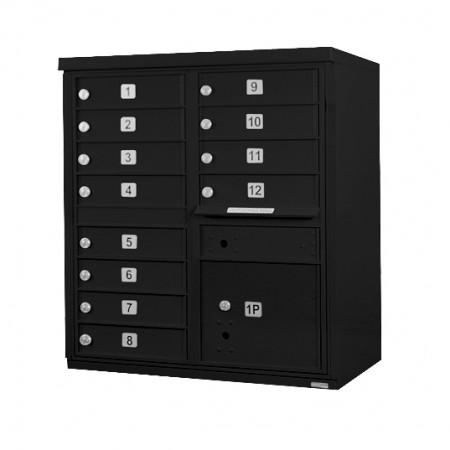 12 Door F-Spec Cluster Box Unit, Black - NO PEDESTAL
