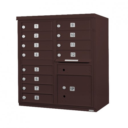 12 Door F-Spec Cluster Box Unit, Bronze - NO PEDESTAL