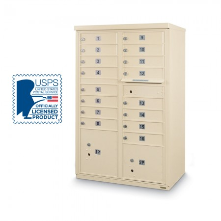 16 Door F-Spec Cluster Box Unit, Sandstone - NO PEDESTAL