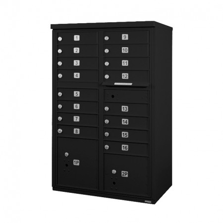 16 Door F-Spec Cluster Box Unit, Black - NO PEDESTAL