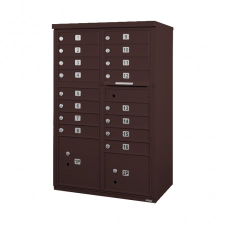 16 Door F-Spec Cluster Box Unit, Bronze - NO PEDESTAL