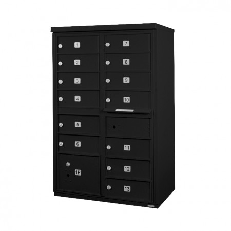 13 Door F-Spec Cluster Box Unit, Black - NO PEDESTAL