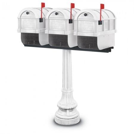 Glastonbury 1092 Triple Residential Mailboxes & Post - White