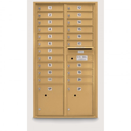 20 Door 4C Horizontal Mailbox - 2 Parcel Lockers