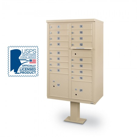 16 Door F-Spec Cluster Box Unit with Pedestal, Sandstone