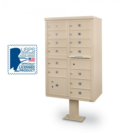 13-Door F-Spec Cluster Box Unit with Pedestal, Sandstone