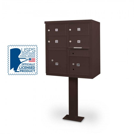 4 Door F-spec Large Capacity Cluster Box Unit with Pedestal, Bronze