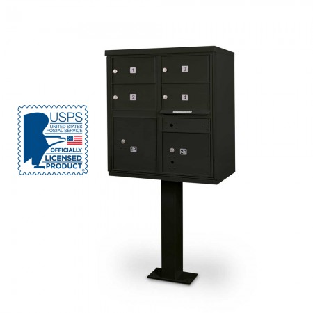 4 Door F-spec Large Capacity Cluster Box Unit with Pedestal, Black