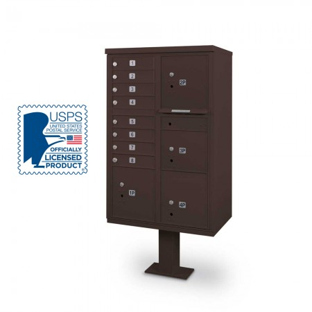 8 Door F-spec Large Capacity Cluster Box Unit with Pedestal, Bronze