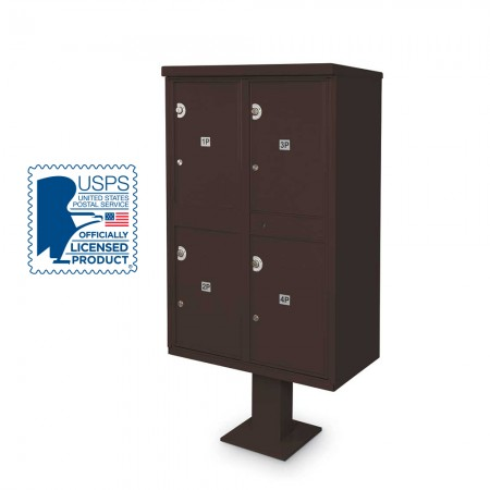 4 Parcel Locker F-spec Cluster Box Unit with Pedestal, Bronze