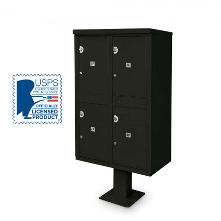 4 Parcel Locker F-spec Cluster Box Unit with Pedestal, Black