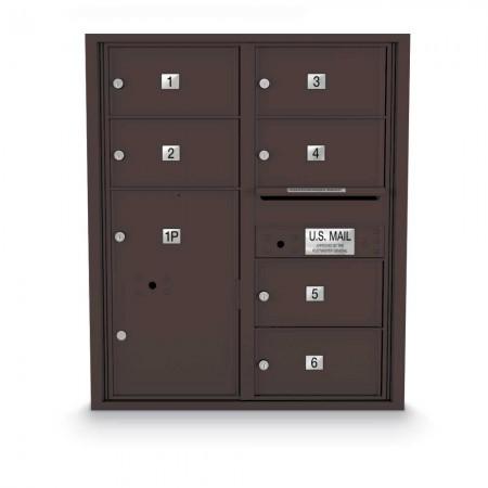 6 Door, 1 Parcel Locker 4C Horizontal Mailbox