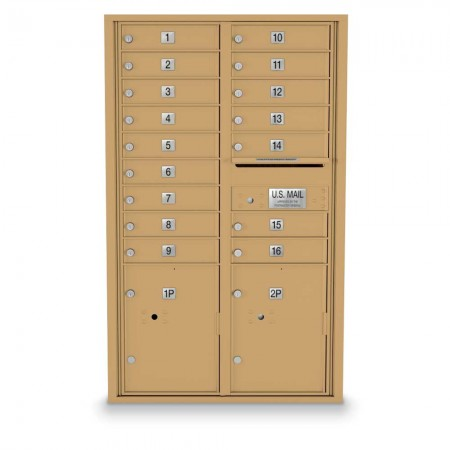 16 Door, 2 Parcel Locker 4C Horizontal Mailbox