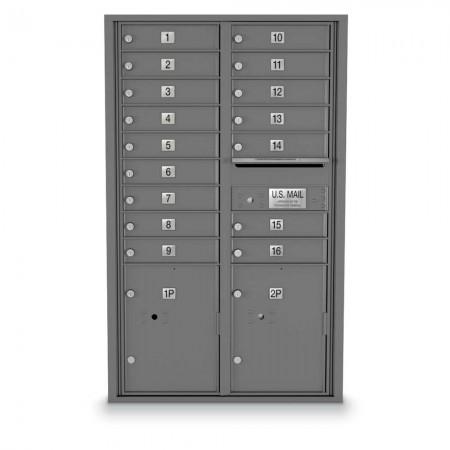 16 Door, 2 Parcel Locker 4C Horizontal Mailbox
