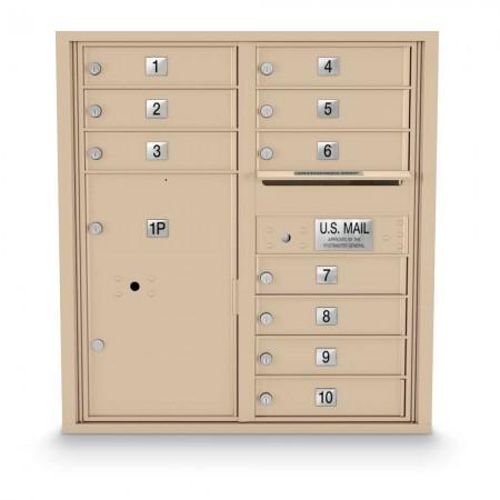 10 Door, 1 Parcel Locker 4C Horizontal Mailbox