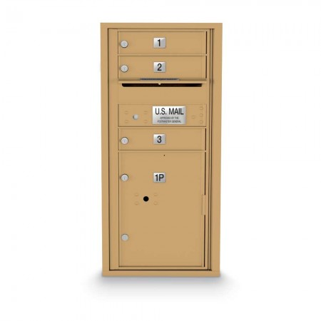 3 Door, 1 Parcel Locker 4C Horizontal Mailbox