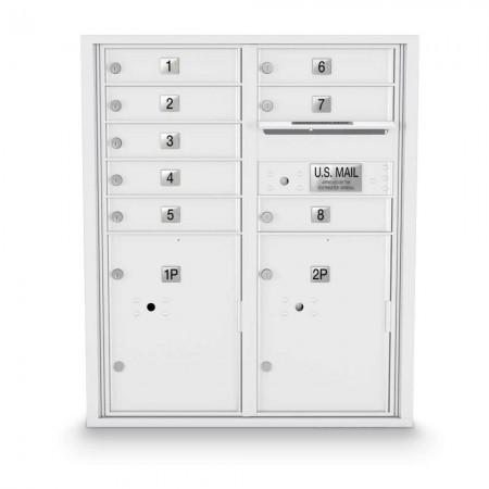 8 Door, 2 Parcel Locker 4C Horizontal Mailbox