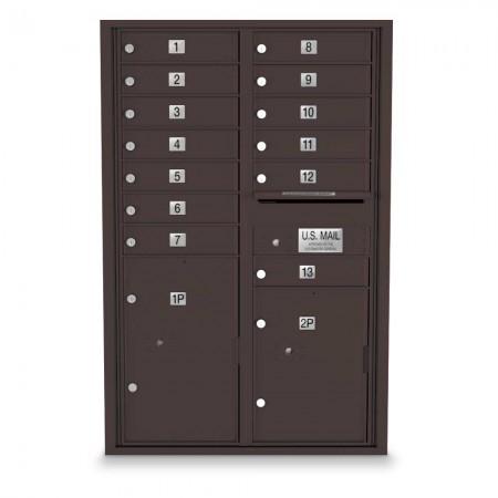 13 Door, 2 Parcel Locker 4C Horizontal Mailbox