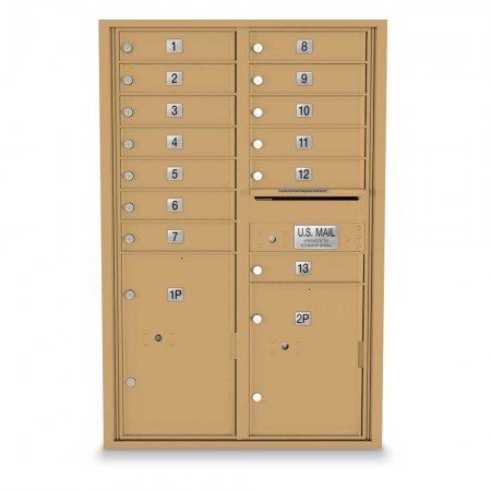 13 Door, 2 Parcel Locker 4C Horizontal Mailbox